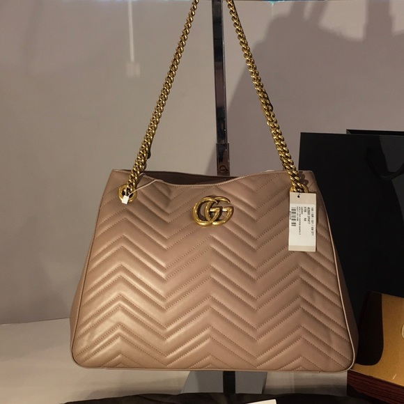 afd2e28b4b1b GUCCI Marmont GG Rose Leather Shoulder Bag 453569
